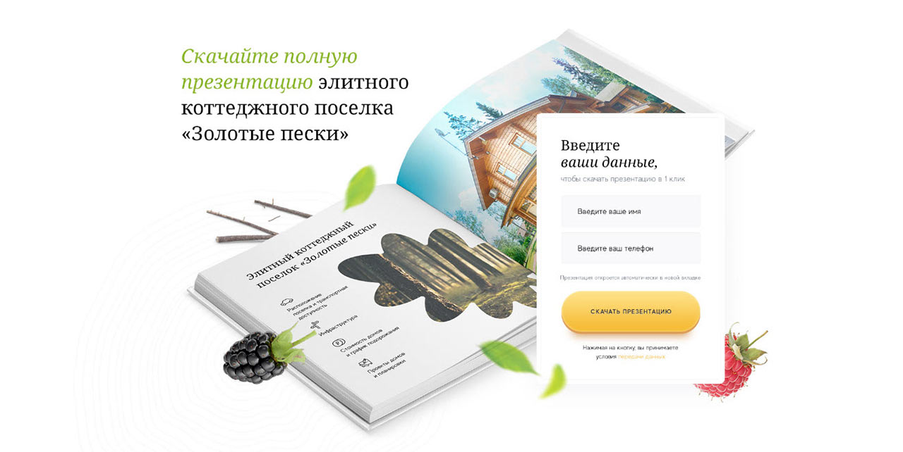 Форма захвата для сайта - Скачайте презентацию поселка